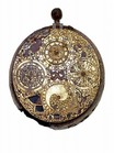 watch; timepiece - Oval cased verge clock-watch with alarm and calendar