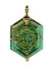 watch; timepiece - Hexagonal emerald cased verge watch