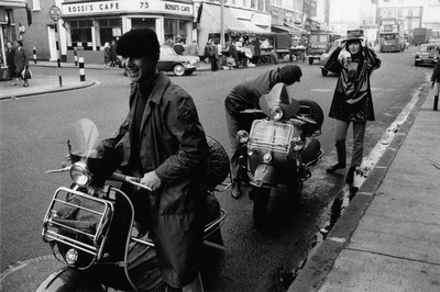 photograph; silver gelatin print - Two 'Mod' youths with scooters, Tower Bridge Road