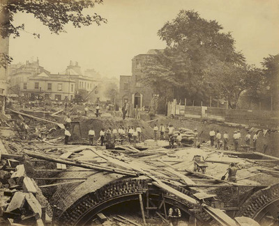 photograph; albumen print - The construction of the Metropolitan District Railway