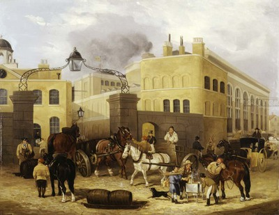 painting; oil on canvas - Barclay and Perkins's Brewery, Park Street in Southwark