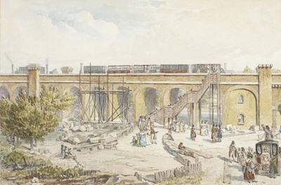 watercolour - Spa Road Temporary Terminus, London & Greenwich Railway, 1836